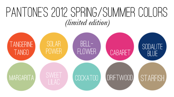 pantone 2012 spring/summer colors | haleybragg designs
